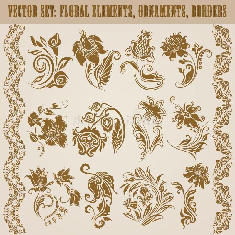 Set wektoru adamaszka ornamenty. royalty ilustracja