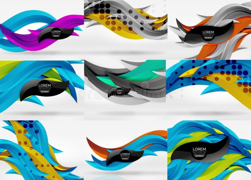 Set wektoru 3d fala linii abstrakta tła ilustracji