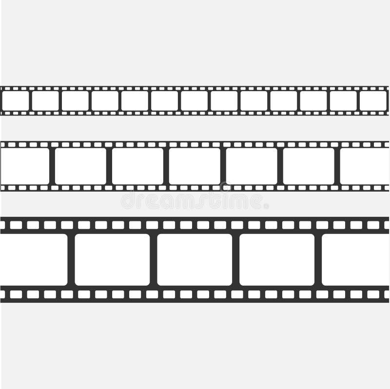 Set wektoru filmu pasek odizolowywający na przejrzystym tle ilustracji