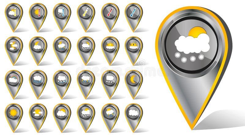 Set 24 wektoru pogodowego realistycznego kruszcowego chromu hashtag płaskiej ikony na białym tle ilustracja wektor