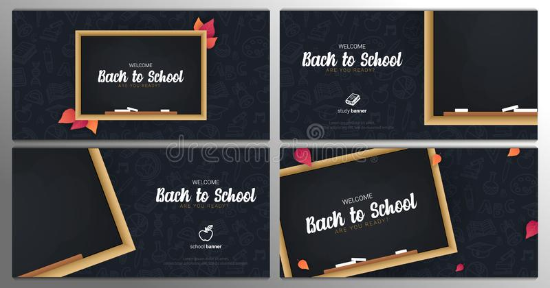 Set of Welcome Back to School banners with chalkboard and dark hand draw doodle background. vector illustration