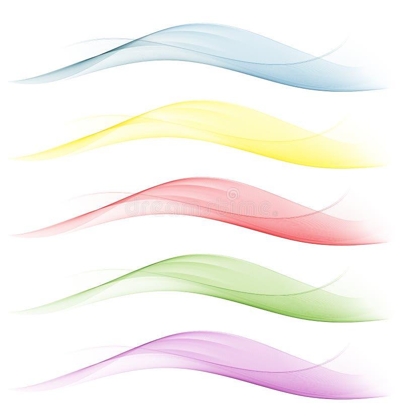 Set Wellen Blaue, gelbe, rote, grüne Hintergrundzusammenfassung bewegt wellenartig vektor abbildung