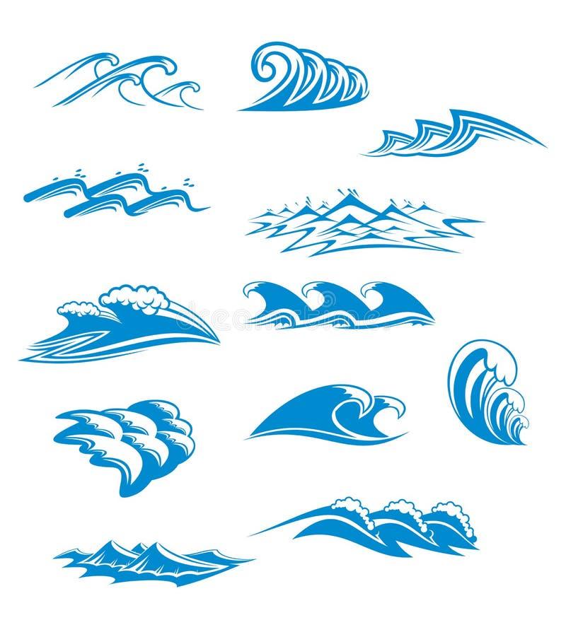 Set Wellensymbole lizenzfreie abbildung