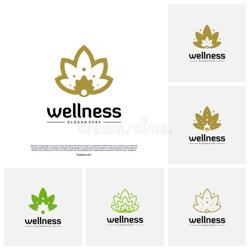 Set of Wellness Logo Design Concept. Nature Leaf Logo Design Template Vector. Icon Symbol stock illustration