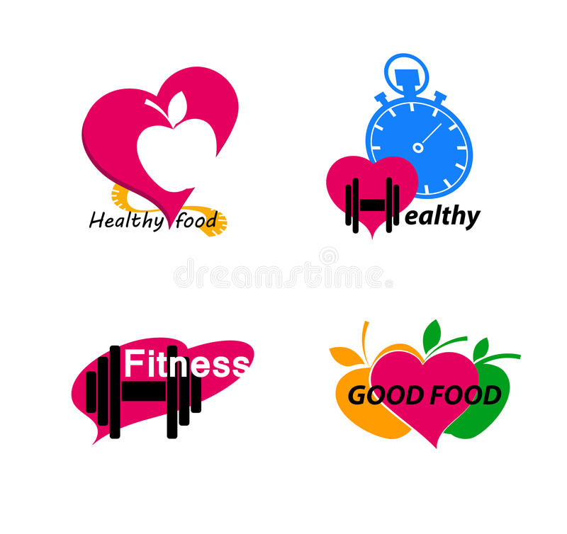 Set Wellness symbols. Healthy food and fitness. royalty free illustration