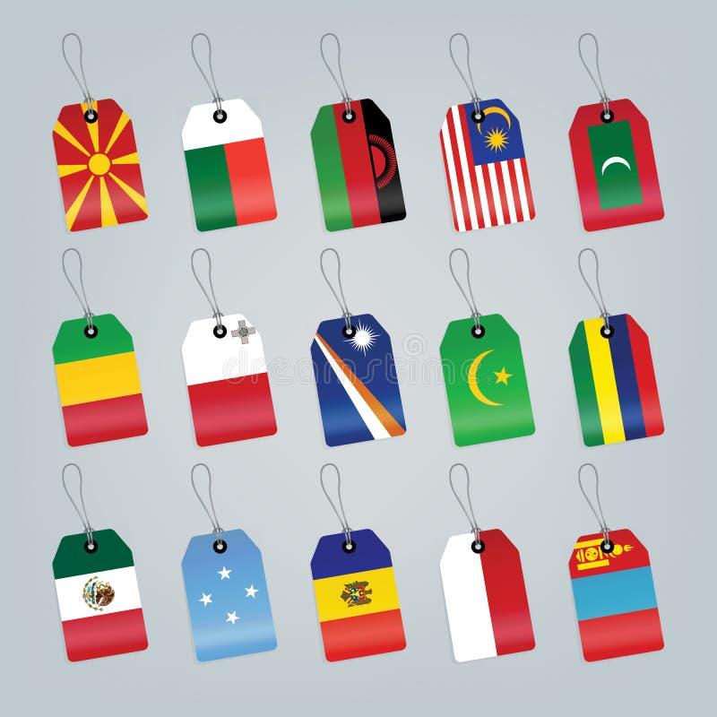 Set Weltmarkierungsfahnen stockbilder