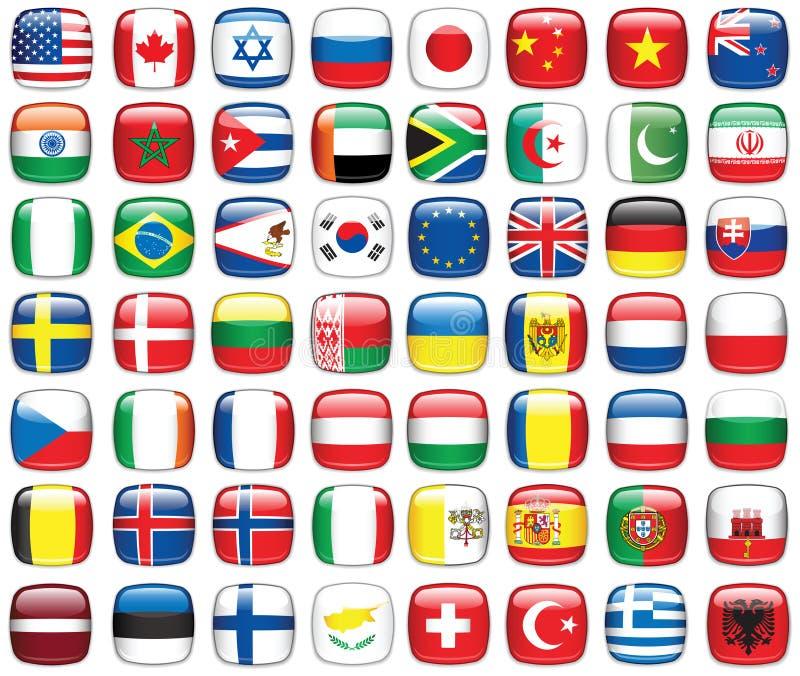 Set Weltmarkierungsfahnen lizenzfreie abbildung