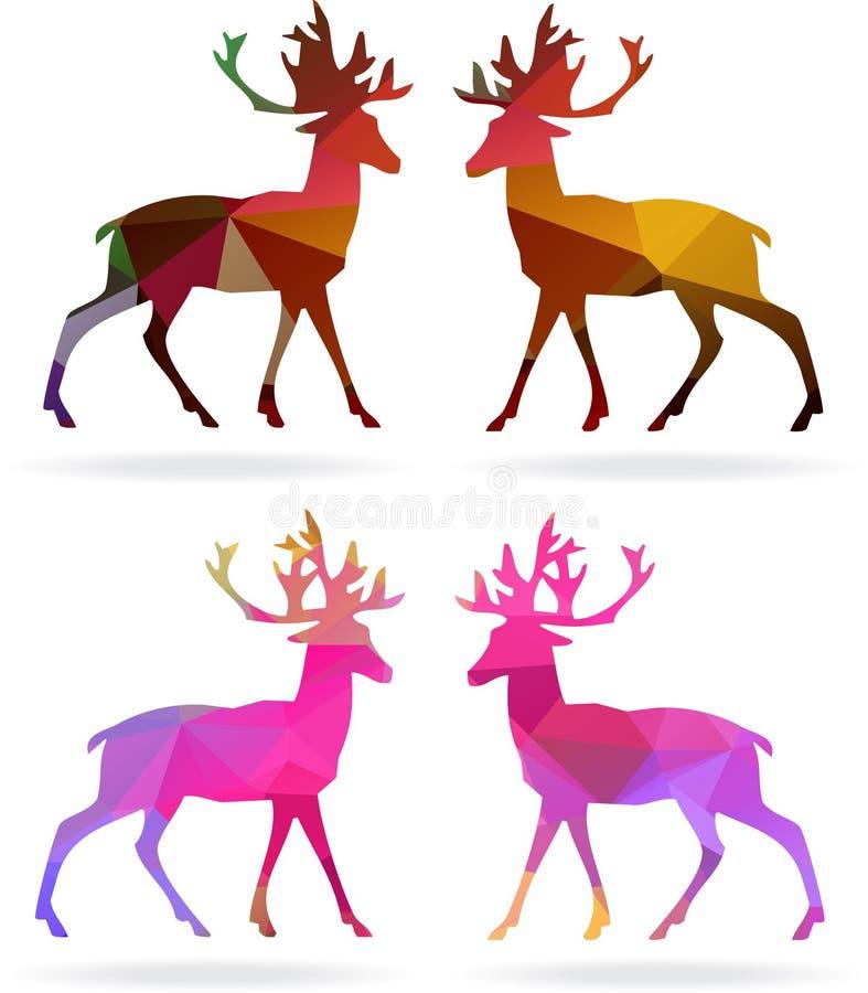 Set Wesoło boże narodzenia barwi abstrakcjonistyczny reniferowy geometrycznego royalty ilustracja