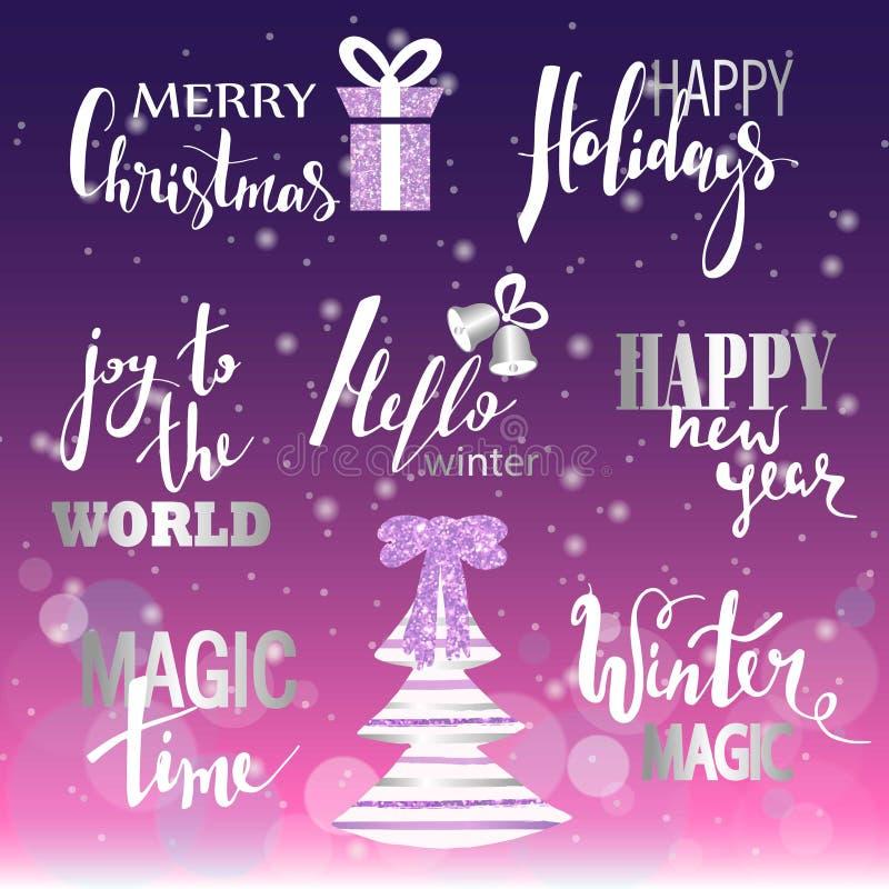 Set Wesoło boże narodzenia tekst, ręka rysujący literowanie i Szczęśliwy nowy rok typografii projekt, Dla kart, zaproszenia, plak obraz royalty free