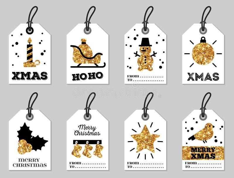 Set Wesoło bożych narodzeń prezent Oznacza Błyskotliwego złoto royalty ilustracja