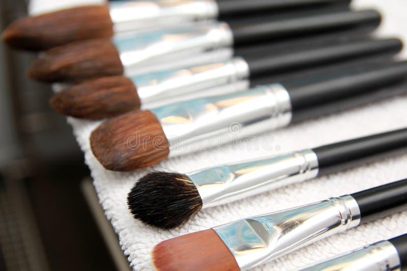 Set of wet make-up brushes royalty free stock photography