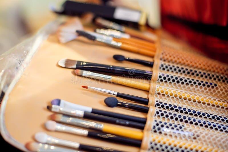 Set of wet professional make up brushes stock photography