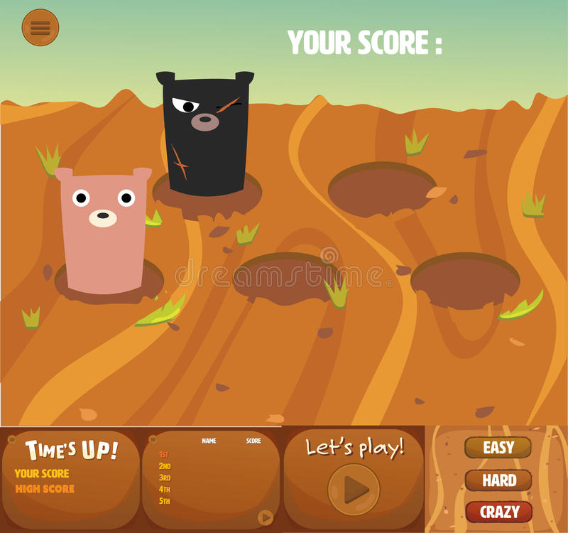 Set of whack a bear gui interface theme game's design. It has menu, time up, score board and cute bear royalty free illustration