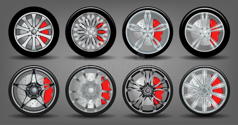 Set of Wheels with Disks and Rubber stock image