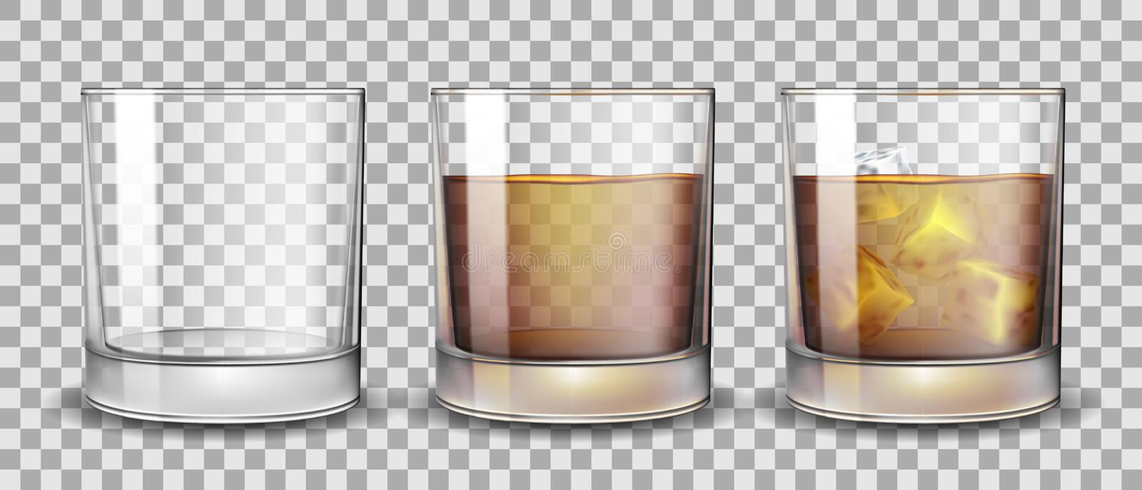 Set of whiskey, rum, bourbon or cognac glasses with Alcohol and without. Transparent Alcohol glasses Drink in a stock illustration
