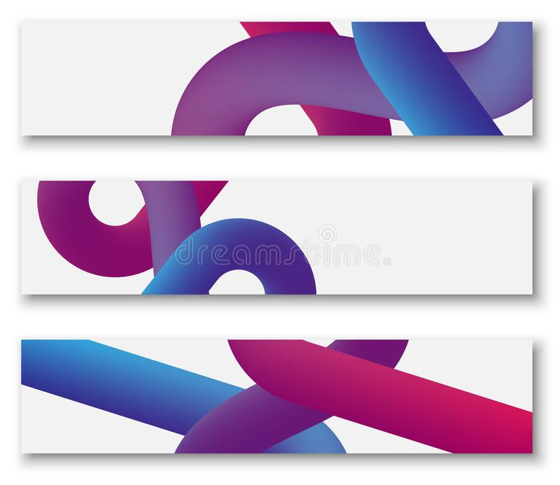 White banners with purple and pink abstract pattern. royalty free illustration