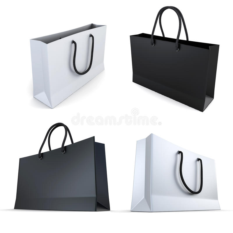 Set of white and black bags royalty free illustration