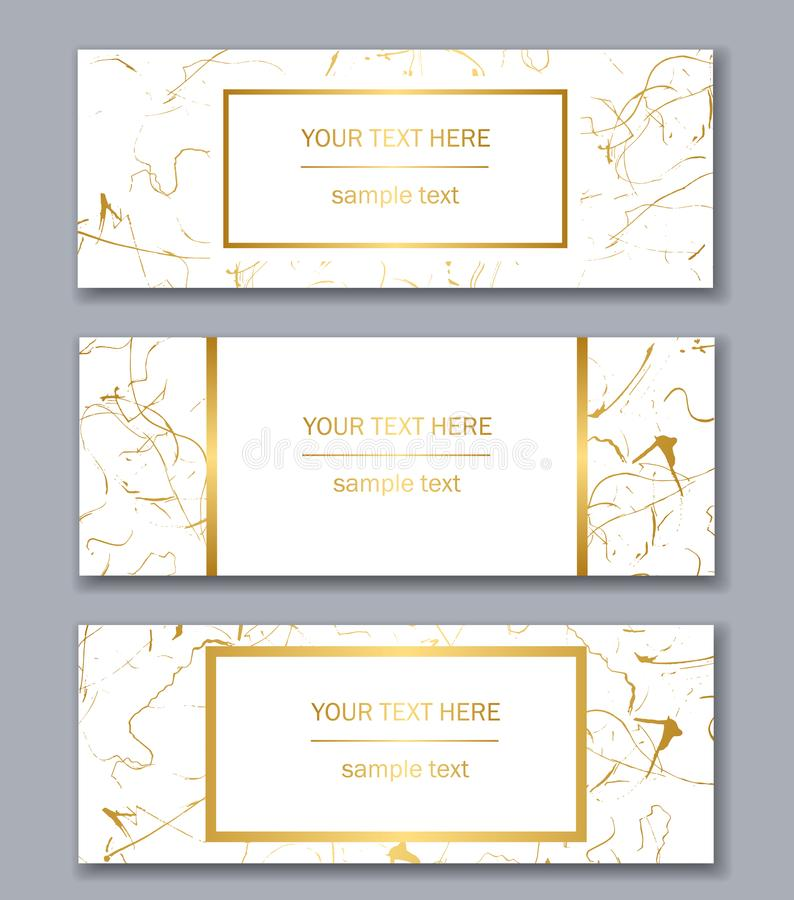 Set of white, black and gold banners templates. Modern abstract royalty free illustration