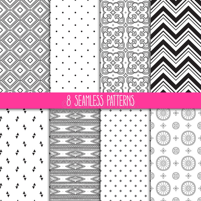 Set of white and black patterns stock illustration