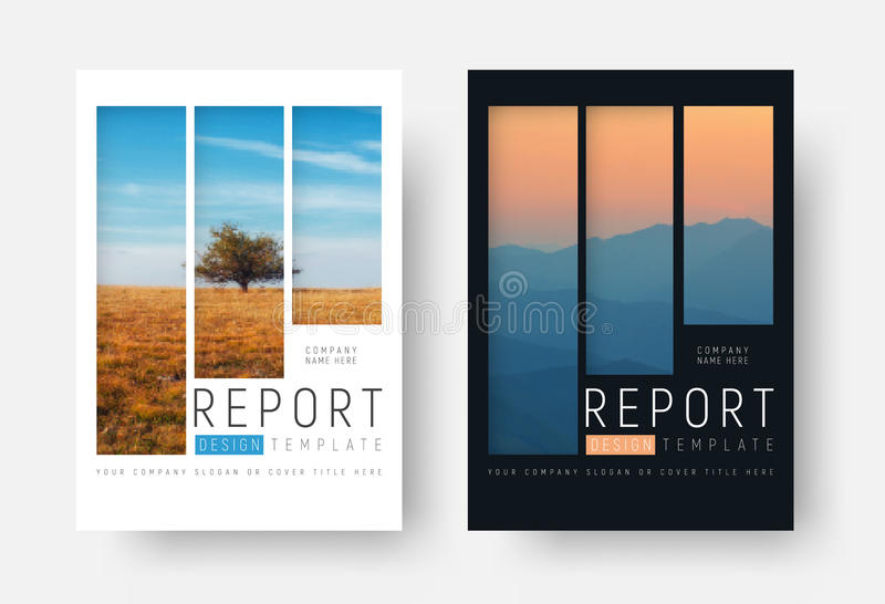 set of white and black report covers with a landscape and mountains in a minimalist style stock illustration