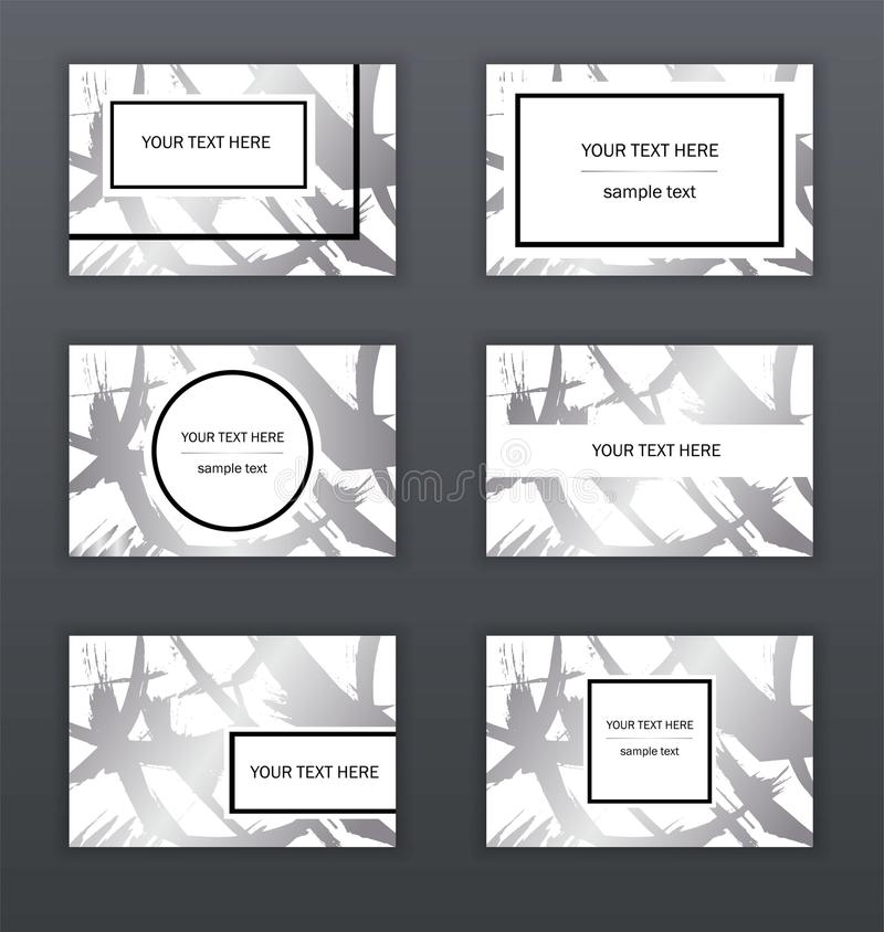 Set of white, black and silver business cards templates. Modern abstract design. Hand drawn ink pattern. Brush texture. stock illustration