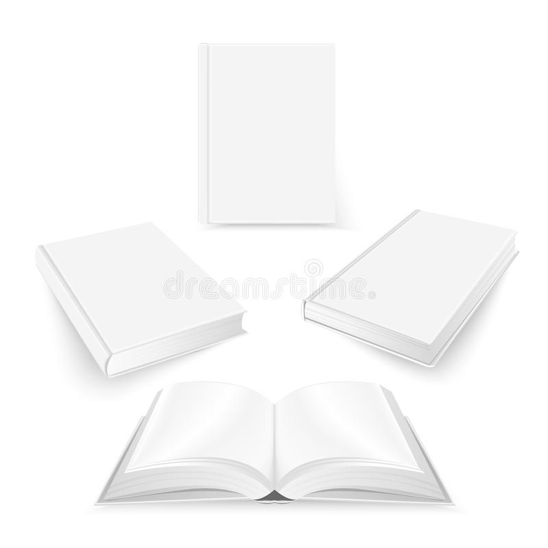 Set of white blank book cover template. Mockup design vector illustration