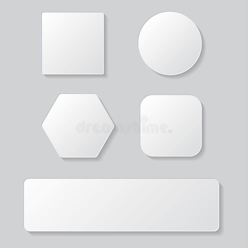 Set of white blank button. Round square rounded buttons vector illustration