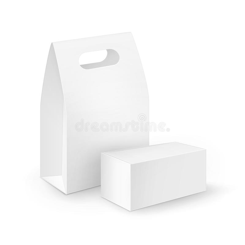 Set of White Blank Cardboard Rectangle Take Away Handle Lunch Boxes Packaging For Sandwich, Food, Gift, Other Products. Vector Set of White Blank Cardboard vector illustration