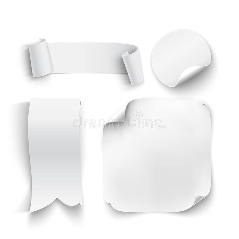 Set of white, blank stickers royalty free illustration