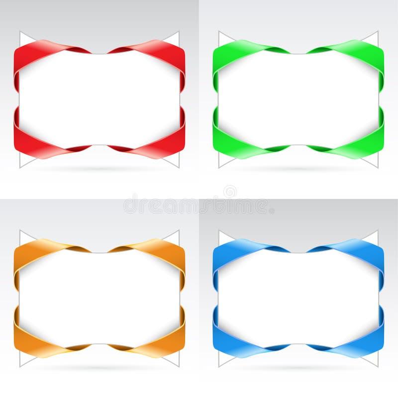 Set of white blanks with ribbon royalty free illustration