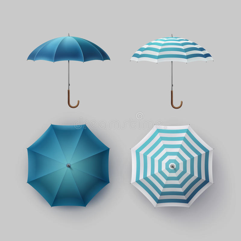 Set of White Blue Striped Round Rain Umbrella vector illustration