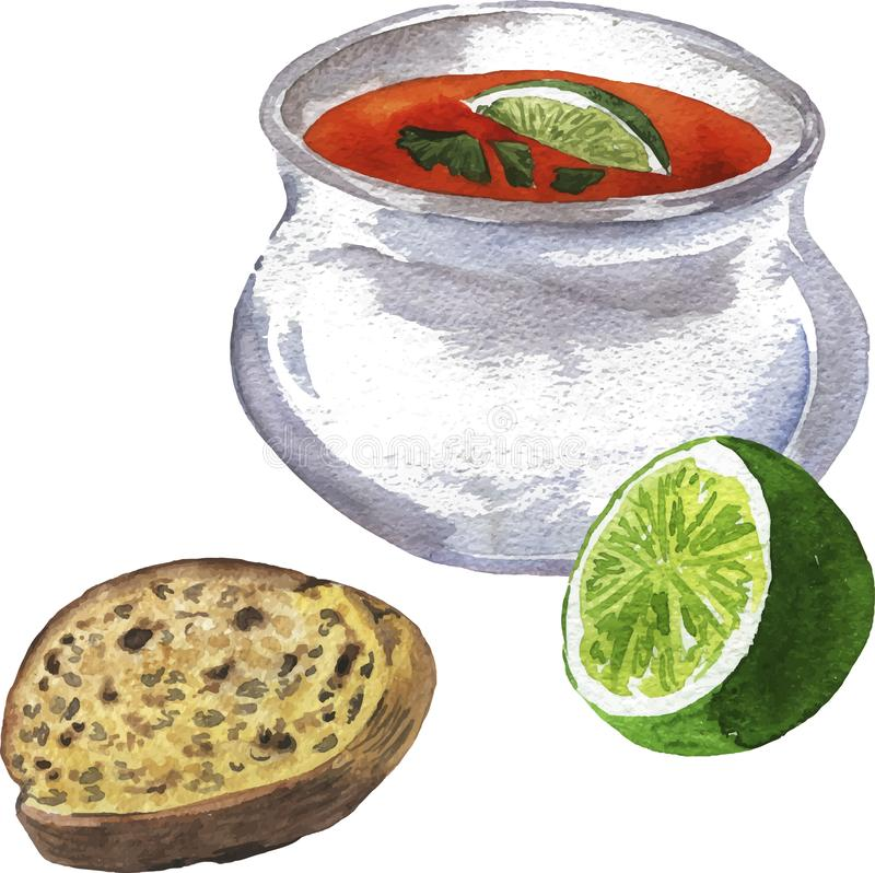 Soup, lime and bread. Hand drawn watercolor illustration. stock illustration