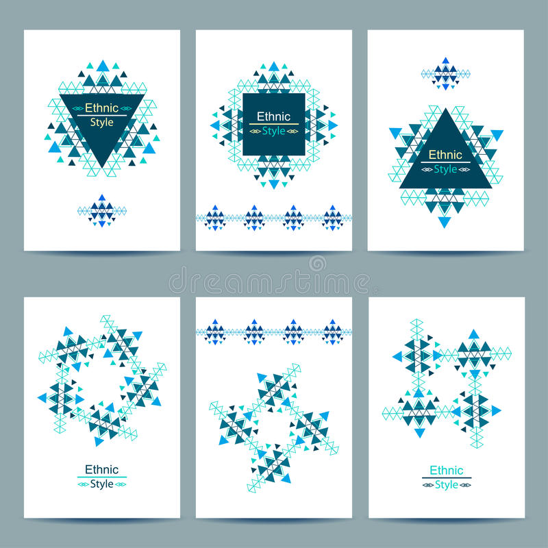 Set of white cards with ethnic design. royalty free illustration