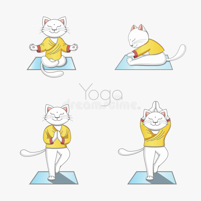 The white cat practices yoga on a rug in various positions. stock illustration