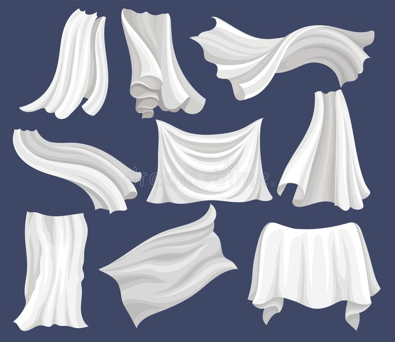 Flat vector set of white cloth. Silk bed sheet. Curtains flying on the wind. Elements for poster or banner of textile. Set of white cloth. Silk bed sheet. Long royalty free illustration