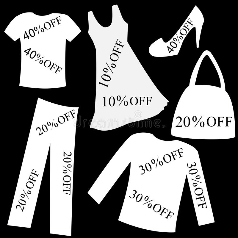 Set of white clothing with sale percent discount over black back royalty free illustration