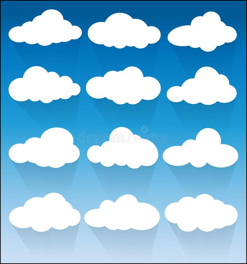 Set of white Cloud Icons on blue background vector illustration