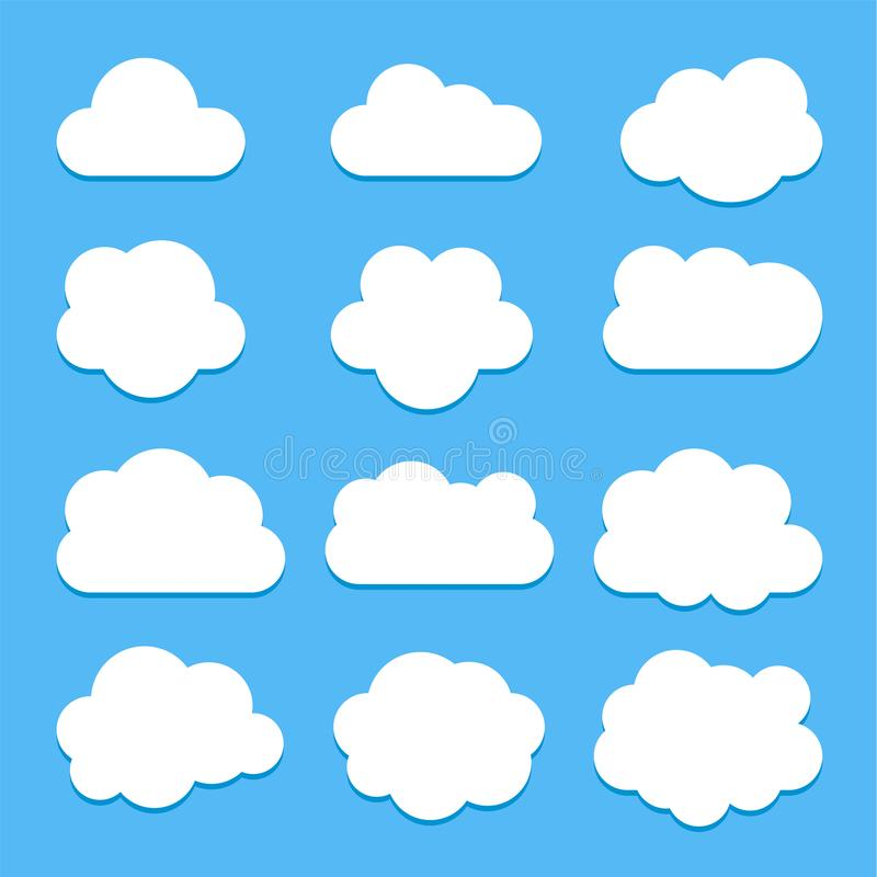 Set of white cloud icons in flat style isolated on blue background royalty free illustration