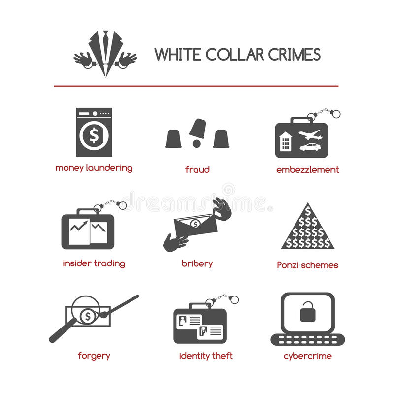 Set of white collar crime icons stock illustration