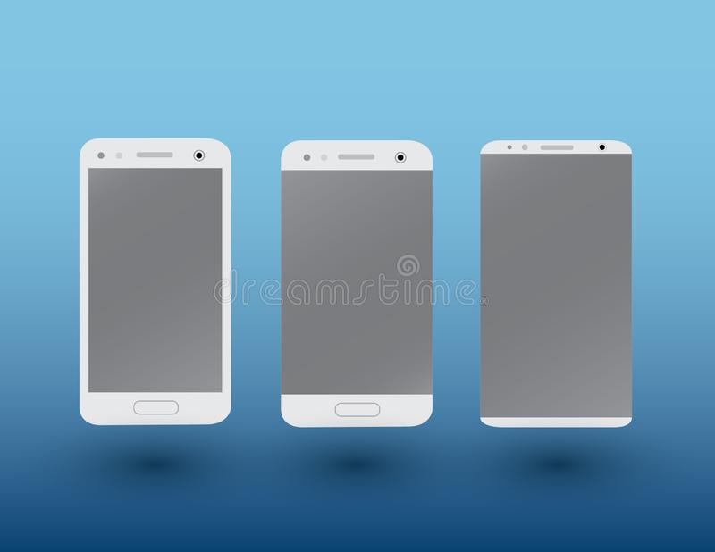 A set of white color modern touchscreen smartphones on dark blue background with shadow vector illustration royalty free illustration