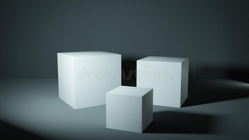 Set of white cubes in a grey lit studio, presentation pedestals. stock illustration