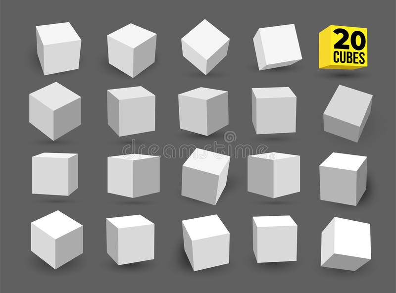 Set of white 3D cubes pack isolated on white background. Different light, perspective and angle. Vector illustration. Isolated on. Gray background stock photo