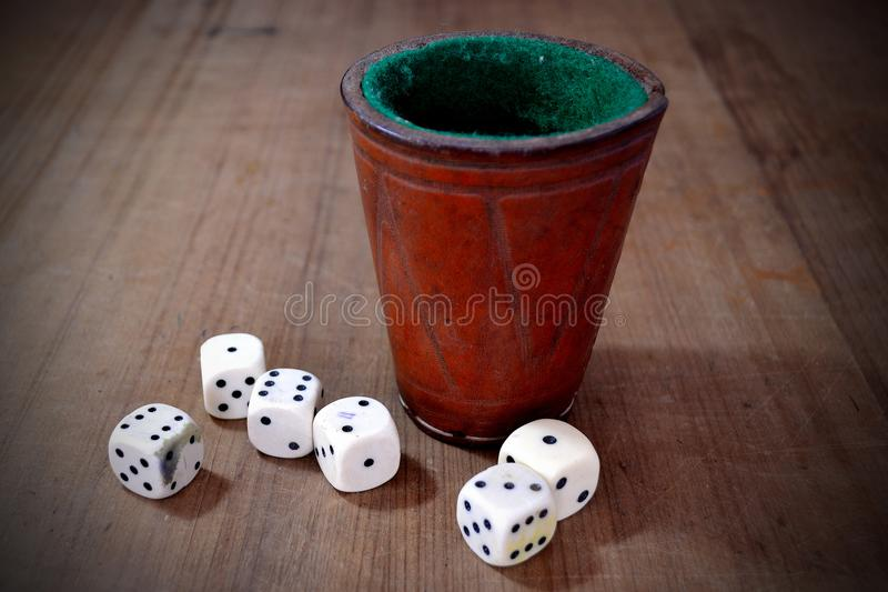Set of White Dice and Leather stock images
