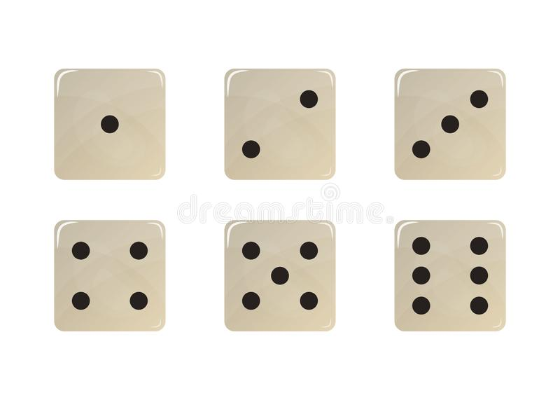 Set of white dice. vector illustration