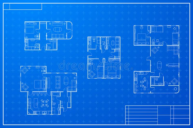 Set of different blueprint house plans. Set of white different blueprint house plans vector illustration