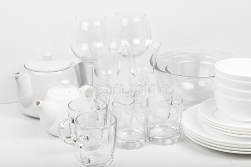 Set of white dishes . table wear royalty free stock photography