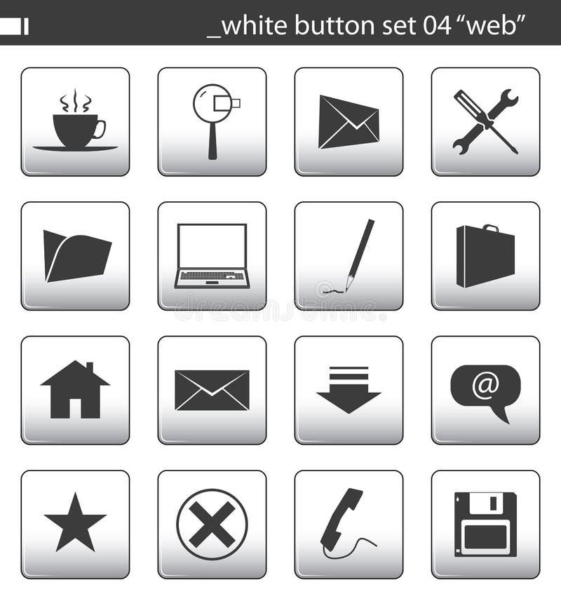 set white för 04 knapp royaltyfri illustrationer