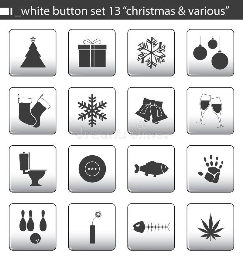 set white för 13 knapp stock illustrationer