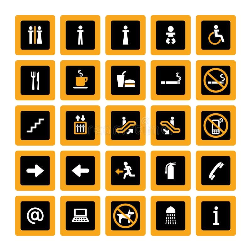 set white för svart inomhus orange pictogram royaltyfri illustrationer