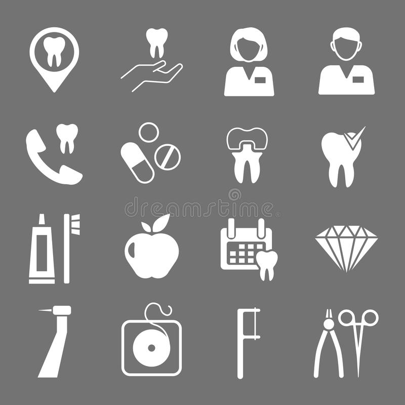 Set of white flat dental icons. Types of dental clinic services, equipment for dental care, dental treatment and prosthetics. Children's dentistry. Vector vector illustration